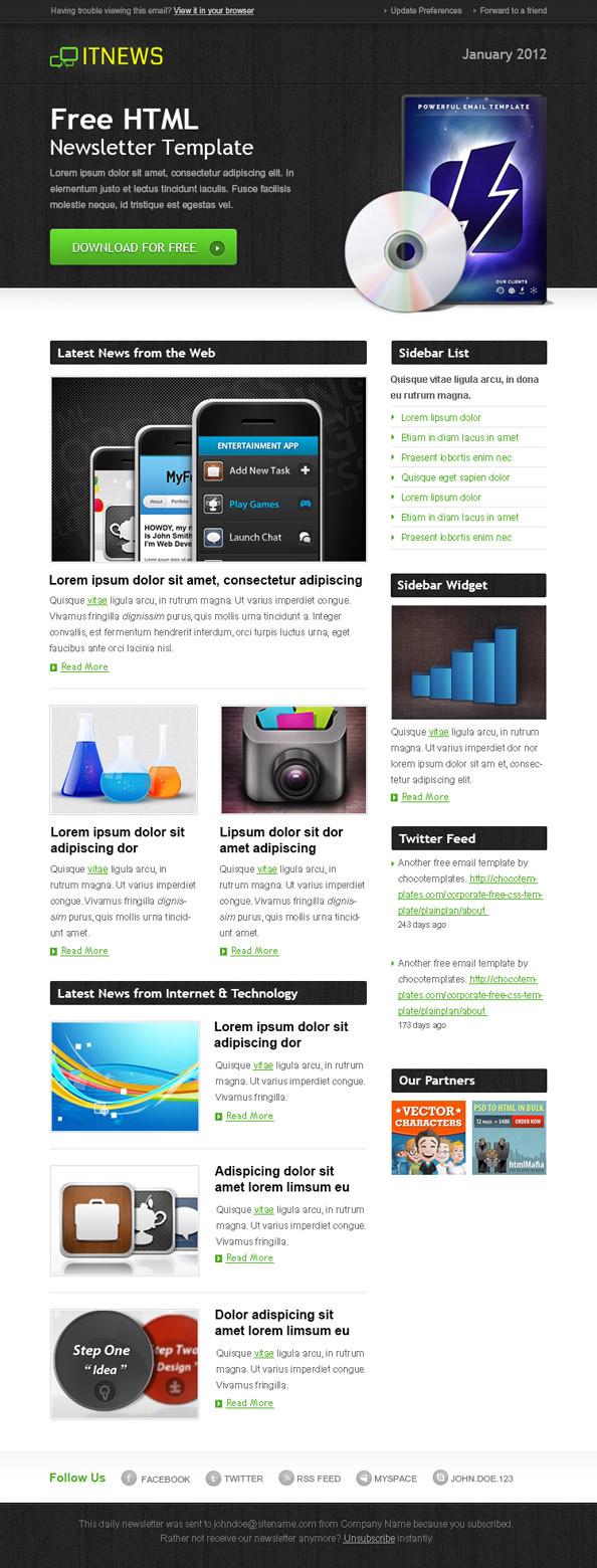28 professionelle Newsletter-Templates mit denen Sie Ihr E ...