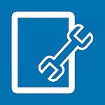 Werkzeug liegt schräg auf Dokument als 2-farbiges Icon-Element